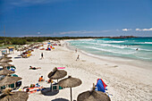 People on the beach of Es Trenc in the sunlight, Mallorca, Balearic Islands, Spain, Europe