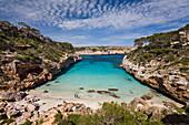 View at beach in the bay Caló d'Es Moro, Mallorca, Balearic Islands, Mediterranean Sea, Spain, Europe
