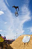BMX cyclist in mid-air, Munich, Bavaria, Germany