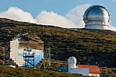 Magic telescope, worlds largest IACT mirror telescope, Imaging Atmospheric Cherenkov Telescope, 17m Durchmesser, Observatorio Astrofisico, Astronomie, Astrophysik, Observatorium, Kuppel, Roque de los Muchachos, Caldera de Taburiente, Caldera de Taburiente