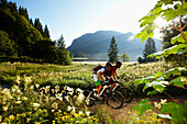 Man and woman riding mountain bikes, Spitzingsee, Bavaria, Germany