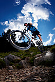 Man riding mountain bike, Spitzingsee, Bavaria, Germany
