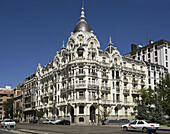 Spain,  Madrid,  lavishly ornamented building at Plaza de España and Calle de Ferraz