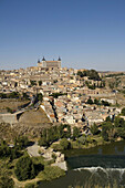 Spain,  Castile-La Mancha,  Toledo,  view of the old fortified city,  the Alcázar Fortress and the Tagus River