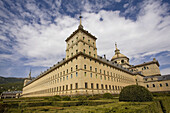 Spain,  Madrid,  El Escorial,  the Royal Monastery of San Lorenzo de El Escorial,  view of the southeastern corner tower and the dome of the basilica of San Lorenzo el Real from the garden of the friars