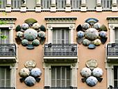 Façade detail of the Casa Bruno Cuadros,  Barcelona. Catalonia,  Spain