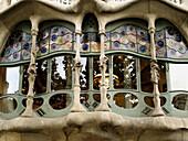 Façade detail of the Batllo House by Gaudi,  Barcelona. Catalonia,  Spain