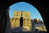 Great Citadel of Aleppo with the glacis defensive mound in the foreground and the monumental gateway and entrance,  Syria