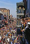 Bourbon Street,  Fat Tuesday (Mardi Gras),  New Orleans carnival. Louisiana,  USA