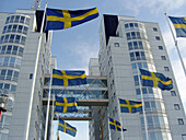Swedish flags at the Globen entertainment and office complex,  Stockholm,  Sweden