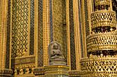 Statue and golden ornamentation of the Royal Grand Palace, Bangkok, Thailand, Asia