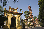 Exterior view of the Quan Thanh temple in the sunlight, Hanoi, Ha Noi province, Vietnam, Asia
