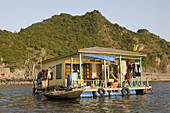House of the floating fishing village at the Halong Bay at the Gulf of Tonkin, Vietnam, Asia
