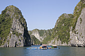 Floating fishing houses at the Halong Bay at the Gulf of Tonkin, Vietnam, Asia