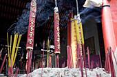 Incense sticks at a chinese pagoda at Cholon, Saigon, Hoh Chi Minh City, Vietnam, Asia