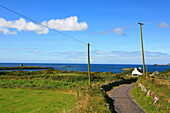 Country road in the sunlight and view at the atlantic, Mizen Head Peninsula, County Cork, southwest coast, Ireland, Europe
