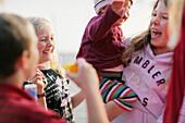 Laughing children, lake Worthsee, Bavaria, Germany