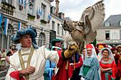 Falcon Show, Wool Fair, Medieval Festival Of Chateaudun, Eure-Et-Loir (28), France