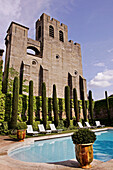 The Basilica Of Saint Nazaire And The Pool At The Hotel De La Cite, Orient Express Hotels, Medieval City Of Carcassonne, Aude (11), France