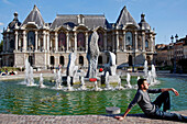 Relaxing By The Fountain Of The Fine Arts Palace, Place De La Republique, Lille, Nord (59), France