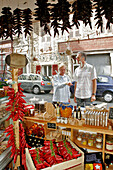 Braids, Ropes Of Espelette Chilies, Boutique Pujol Michel, Delicatessen, Biarritz, Basque Country, Basque Coast
