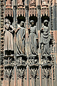 South Door Of The Strasbourg Cathedral, Mad Virgins. They Hold The Lamps Upside Down, Closely Grip The Tables Of The Law And Are Next To The Tempter Who Holds The Apple Of Temptation And Has Reptiles On His Back, Bas-Rhin (67), Alsace, France