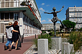 Statue Of A Dancer In Front Of Apartment Buildings In The Architecture Of Auguste Perret, Classed As World Heritage By Unesco, Boulevard Francois 1Er, Le Havre, Seine-Maritime (76), Normandy, France