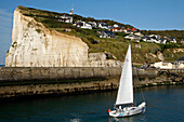 Sailboat Entering The Marina Of Fecamp, Seine-Maritime (76), Normandy, France