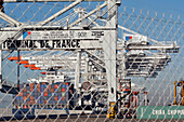 Protected Access Zone Off-Limits To Visitors, Loading Of Containers Onto A Cargo Boat, Terminal Of France Port 2000, Commercial Port, Le Havre, Normandy, France