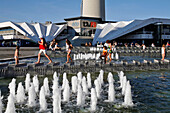 Children In The Fountain At The Foot Of The Television Tower, Fernsehturm, Alexanderplatz, Berlin, Germany