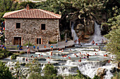 Del Gorello Cascades, Thermal Water Spring (37 Degrees Celsius), Natural Baths Or Calcareous Basins In Cascades Hollowed Out In The Tufa Used The Roman Times For Body Care, Thermal Baths Of Saturnia, Tuscany, Italy