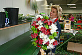 Bouquet Assembly Line' At An Exporter'S. One Worker Is Responsible For One Flower That She Puts On A Conveyer Belt. A Bouquet Comes Out At The End Of The Chain, Netherlands, Europe