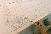Drawing On The Ceramics Before They Go In The Kiln, Azulejos Makers, Ceramica De Bicesse, Cascais Region, Portugal