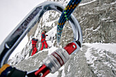 Firefighter In Action, Winter Exercise In The Alps, Preparation Of The Relay For The Evacuation Of A Victim, Emergency Service Mountain Squad (Gmsp74), Petite Aiguille Verte, Mont-Blanc, Haute-Savoie (74), France