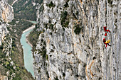 Firefighters In Action For Evacuation Of A Victim Of A Rock-Climbing Accident, Cliff Rescue In The Gorges Of The Verdon With The Search And Intervention In Dangerous Places Group Of The Var Fire Department, Les Cavaliers, Var (83), France
