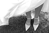 Bridal Shoes Beneath The Gown, Wedding Day, France