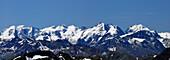 Panoramic view of Bernina range, Upper Engadin, Engadin, Canton of Grisons, Switzerland
