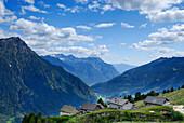 Alpine huts above Valle di Blenio, Ticino range, Ticino, Switzerland