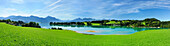 Panorama of lake Forggensee with Ammergau Alps and Tannheim range in background, Allgaeu, Swabia, Bavaria, Germany