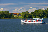 Houseboat on Jezioro Talty (Talter-Gewässer), Mazurskie Pojezierze, East Prussia, Poland, Europe