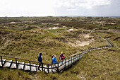 People walking along wooden path through dunes, Norddorf, Amrum island, Schleswig-Holstein, Germany