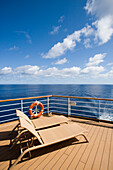 Deck Chairs aboard Cruiseship MS Delphin Voyager, Atlantic Ocean, near Azores, Portugal, Europe