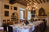 Dining Room in Els Calderers Manor House, near Sant Joan, Mallorca, Balearic Islands, Spain, Europe