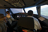 visitors in flight simulator,Welt der Luftfaht, World of Aviation, Hannover Airport, Lower Saxony, Germany