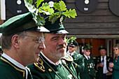 Marksmen in uniform at a Schuetzenfest parade in Eldagsen, Hanover region, Lower Saxony, northern Germany