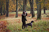 chief forester Menzel, ranger with dog in the Sau Park Springe, Hanover region, Lower Saxony, northern Germany