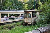 old, disused tramcar, in museum Wehmingen, Hannover region, Lower Saxony