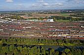 aerial photo of railway yard, shunting, Seelze railway station, Midland Canal, Hanover region, Lower Saxony, Germany