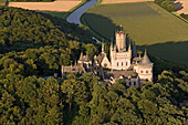Marienburg castle, aerial photo, forest, Hanover region, Lower Saxony, Germany