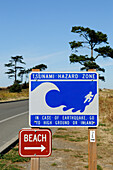 Tsunami Danger Sign, Fort Worden State Park, Port Townsend, Washington State, USA